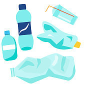 Plastic waste. Bottles, glasses and other trash and garbage. Isolated vector clip art