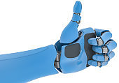 robotic hand shows the gesture of the thumb up, symbol of the like on social networks - 3d illustration