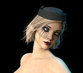cry woman with makeup on black background, 3D Rendering