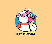 The   head polar bear  with ice cream. Food  type with text, cute animal with glasses, cartoon character, badge, sticker.