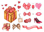 Set of design elements for Valentine's Day. Watercolor illustration.