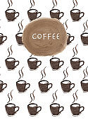 Modern posters with coffee backgrounds. Watercolor illustration.