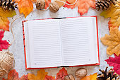 Notebook with clean sheets on grey background with bright autumn leaves. Autumn mood concept. Flat lay, top view, copy space
