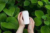 Hands holding natural mineral antiperspirant, deodorant on nature green background