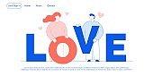 Love, romance, relationship promotion landing page