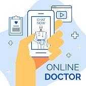 Healthcare concept, web page, communication app advertisement
