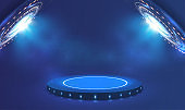 Futuristic blue neon light portal. Circle Sci-fi elements with light and lights. Blue cylinder template. Base stand futuristic modern podium or studio pedestal round platform showroom. Vector