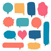 collection set of hand drawing frame border, blank speech bubble balloon, think, speak, talk, text box, banner