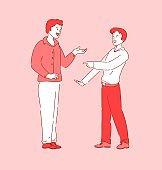 Talking people, coworker friend meeting break time