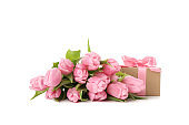 Bouquet of tulips and gift box isolated on white background