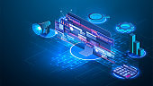 Web page design templates collection of business solution and analysis. SEO or search engine optimization analytics, concept. Computer monitor blue virtual holographic projections on blue background