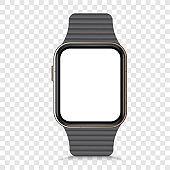 Modern smart watch mockup. Smart watch with black bracelet realistic. Modern wristwatch mock up. Vector illustration