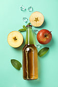 Composition with cider, apples and ice on mint background