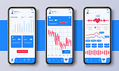 Different UI, UX, GUI screens fitness app and flat web icons for mobile apps, responsive website including. Web design and mobile template. Fitness interface design for mobile application. Vector