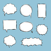 collection set of blank  black and white hand drawing speech bubble balloon, think speak talk text box, banner