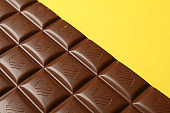 Tasty chocolate bar on yellow background. Sweet food