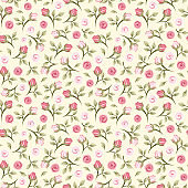 Seamless pattern with pink roses on yellow. Vector illustration.