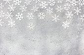 Christmas frame made of snowflakes