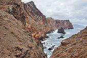 Shot of the rocky coastline in Ponta de Sao Lourenco in Madeira, Portugal