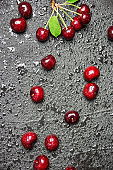 Fresh cherries on black background