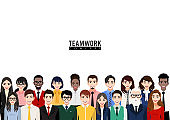 Cartoon character with business people group. Workers team, diverse people standing together and coworkers in casual and suit flat icon vector