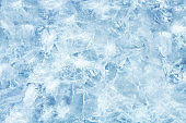 Cracked light blue ice. Frozen water in winter