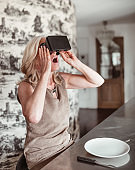 woman during the virtual reality diet at lunch