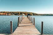 pier in autumn in new england