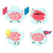 Vector set of illustrations of the brain in different poses and situations on a white background. The concept of a cartoon brain. Brain characters for the theme of education.
