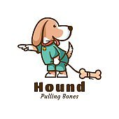 Vector Illustration Hound Cute Cartoon Style.