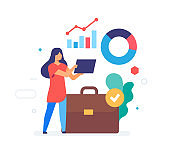 girl analyzes statistics icon, illustration. Smartphones tablets user interface social media.Flat illustration Icons infographics. Landing page site print poster.