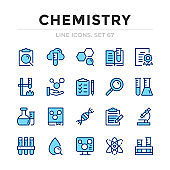 Chemistry vector line icons set. Thin line design. Outline graphic elements, simple stroke symbols. Chemistry icons