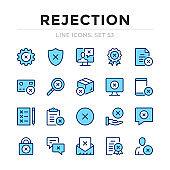 Rejection vector line icons set. Thin line design. Outline graphic elements, simple stroke symbols. Rejection icons