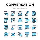 Conversation vector line icons set. Thin line design. Outline graphic elements, simple stroke symbols. Conversation icons