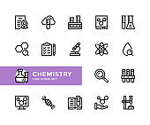 Chemistry vector line icons. Simple set of outline symbols, modern linear graphic design elements. Chemistry icons set. Pixel Perfect