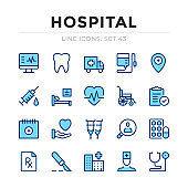 Hospital vector line icons set. Thin line design. Outline graphic elements, simple stroke symbols. Hospital icons