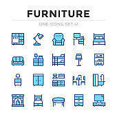 Furniture vector line icons set. Thin line design. Outline graphic elements, simple stroke symbols. Furniture icons