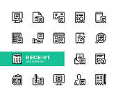 Receipt vector line icons. Financial bill, check, ecommerce, invoice, accounting, online payment, cheque, purchase concepts. Simple set of outline symbols, modern linear graphic design elements. Receipt icons set. Pixel Perfect