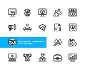 Business training vector line icons. Simple set of outline symbols, linear stroke graphic design elements. Business training icons set. Pixel Perfect