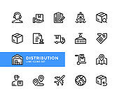 Distribution vector line icons. Shipping, fast delivery, warehouse, courier service, export, transportation concepts. Simple set of outline symbols, modern linear graphic design elements. Distribution icons set. Pixel Perfect