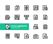 Documents vector line icons. Simple set of outline symbols, modern linear graphic design elements. Document icons set. Pixel Perfect