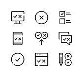 Quiz line icons set. Modern graphic design concepts, black stroke linear symbols, simple outline elements collection. Vector line icons