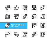 Testimonials vector line icons. Customer satisfaction, client feedback, online chat, contact support, call, comment, positive review concepts. Simple set of outline symbols, modern linear graphic design elements. Testimonials icons set. Pixel Perfect
