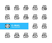 E-mail vector line icons. Envelope UI elements, buttons. Mail concepts. Simple set of outline symbols, modern linear graphic design elements. Email icons set. Pixel Perfect