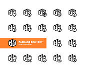 Package delivery vector line icons. Simple set of outline symbols, linear stroke graphic design elements. Package delivery icons set. Pixel Perfect