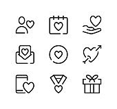 Valentine's day line icons set. Modern graphic design concepts, black stroke linear symbols, simple outline elements collection. Vector line icons