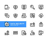 Data security vector line icons. Simple set of outline symbols, linear graphic design elements. Data security icons set. Pixel Perfect