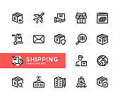 Shipping vector line icons. Simple set of outline symbols, linear graphic design elements. Shipping icons set. Pixel Perfect