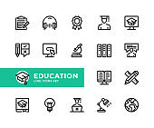 Education vector line icons. Simple set of outline symbols, linear graphic design elements. Education icons set. Pixel Perfect