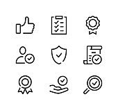Quality control line icons set. Modern graphic design concepts, black stroke linear symbols, simple outline elements collection. Vector line icons
